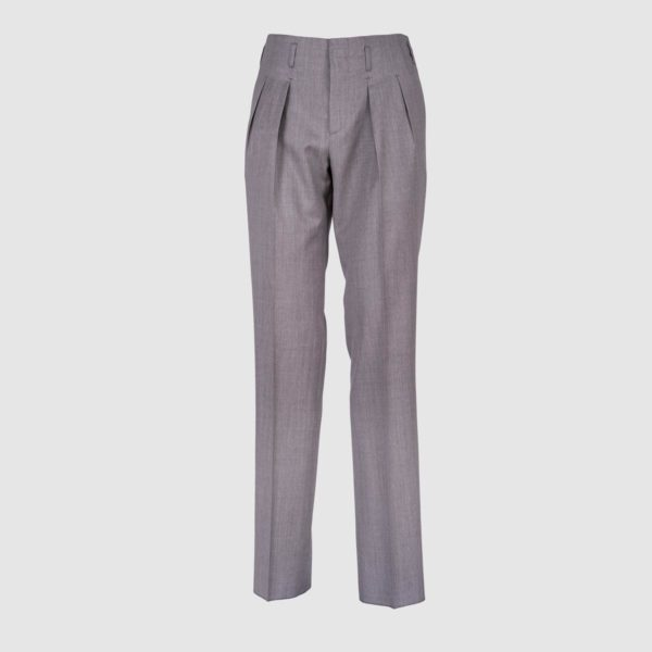 Two Pleats Light Grey 120s Wool Trousers