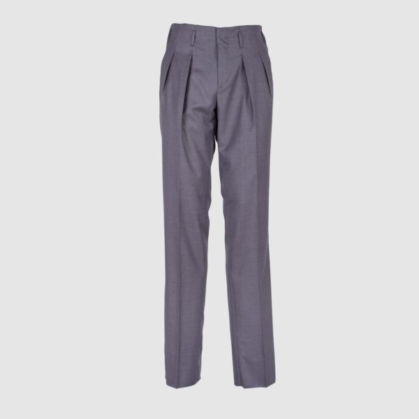 Two Pleats Medium Gray Wool Trousers