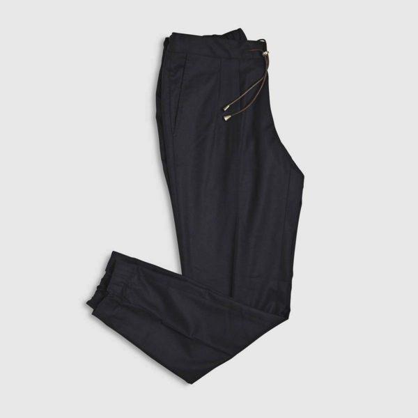 Dark Blue Flannel Jogging Trousers