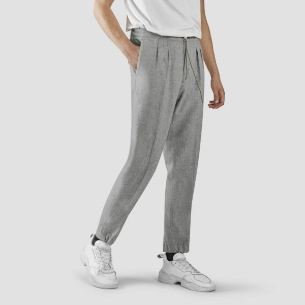 Light Gray Flannel Jogging Trousers
