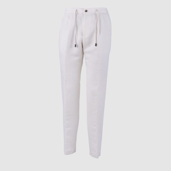 Two Pleat Ivory Cotton-Hemp Trousers
