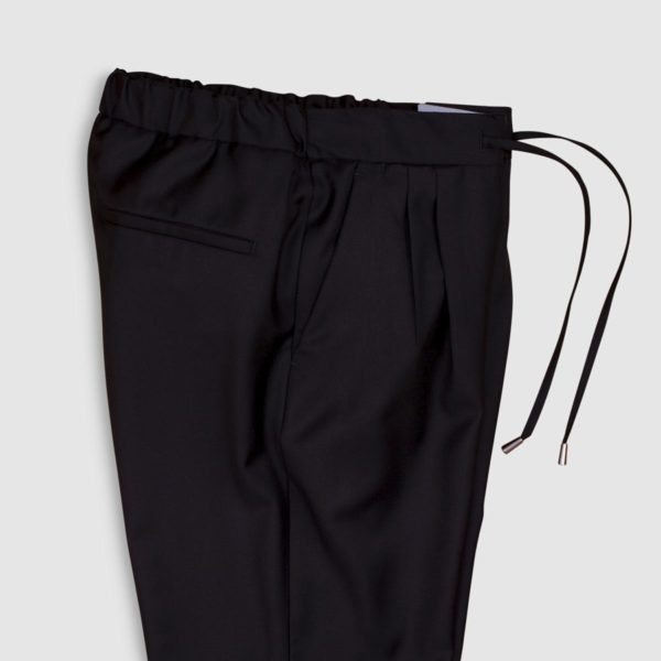 Black Super 130s Wool Jogging Trousers
