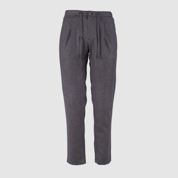 Brown Patterned Super 130s Wool Jogging Trousers