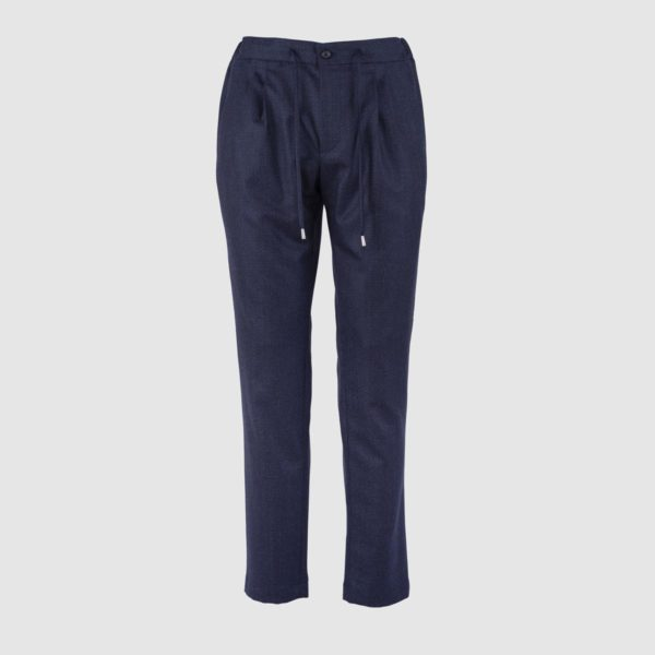 Pantaloni Da Jogging In Lana Super 130s Blu