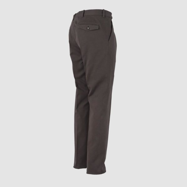 One Pleat Brown Cotton Trousers