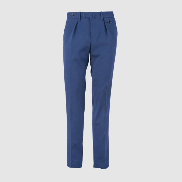 One Pleat Blue Cotton Trousers