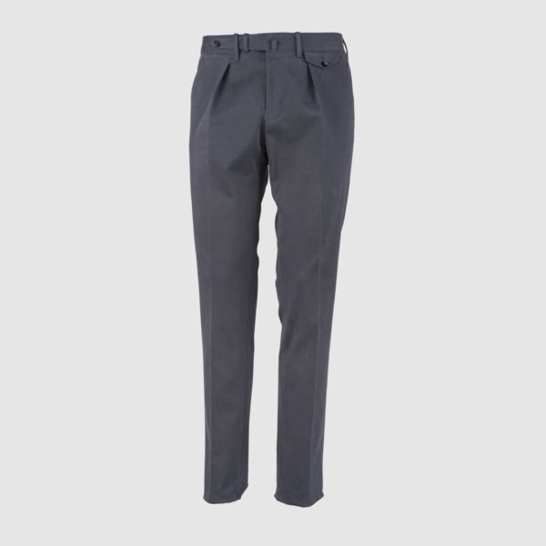 One Pleat Grey Cotton Trousers