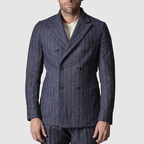 Chelsea Jacket in Pinstripe Wool
