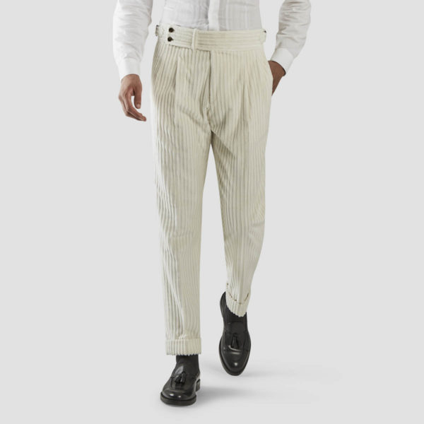 White French Corduroy Two Pleats Trousers