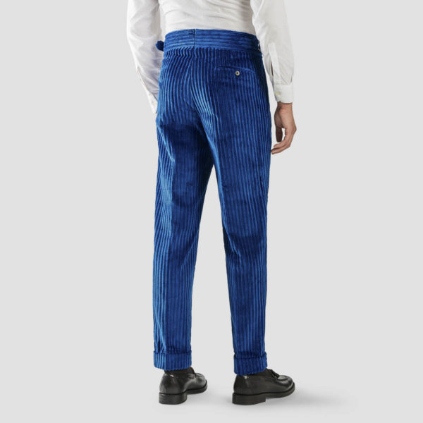 Electric Blue French Corduroy Two Pleats Trousers