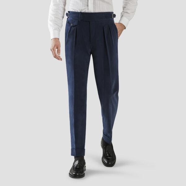 Blue Velvet Two Pleats Trousers