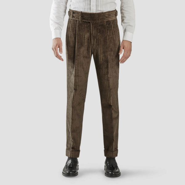 Brown French Corduroy Two Pleats Trousers