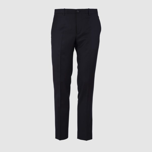 No Pleat Black 130s Wool Trousers