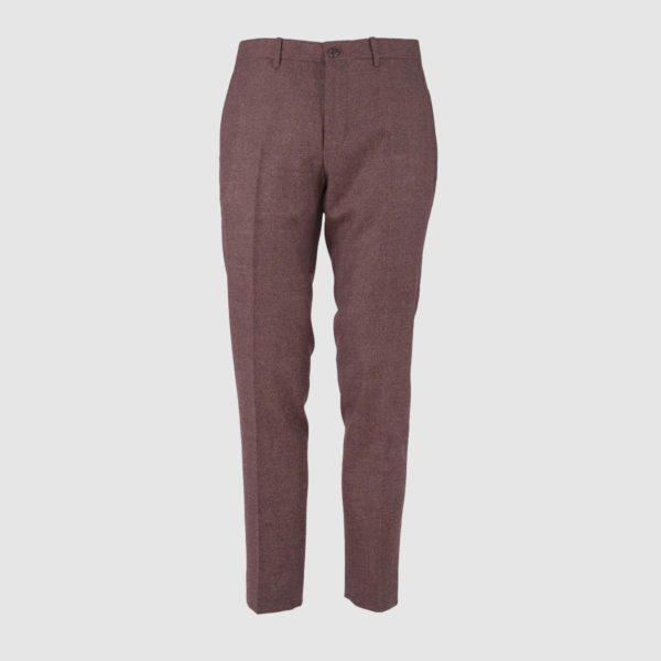 No Pleat Brown Mélange Wool Trousers