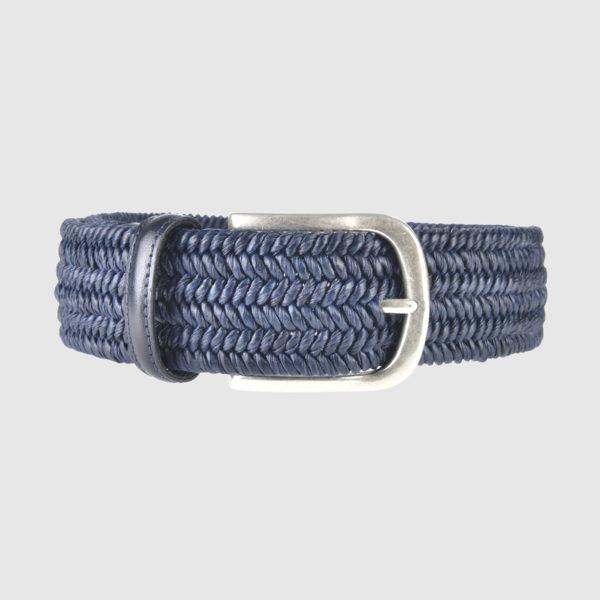 Blue Basketweave Leather Belt
