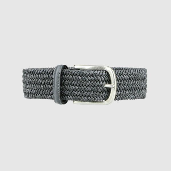 Grey Basketweave Leather Belt