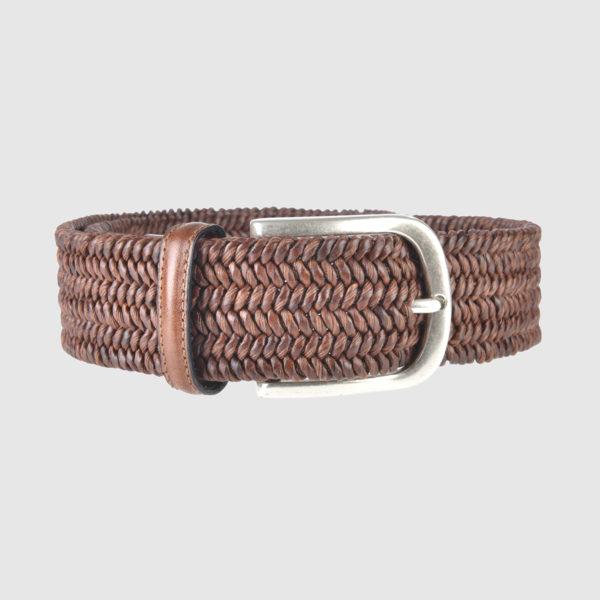 Brown Basketweave Leather Belt