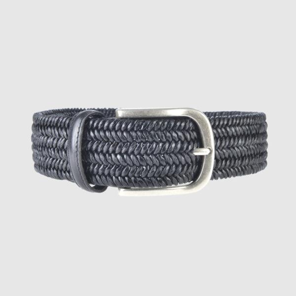 Black Basketweave Leather Belt
