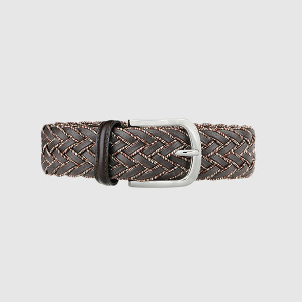 Brown Division Woven Suede Belt