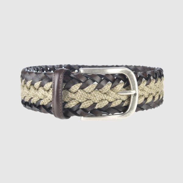 Dark Brown/ Sand Mélange Woven Leather Belt