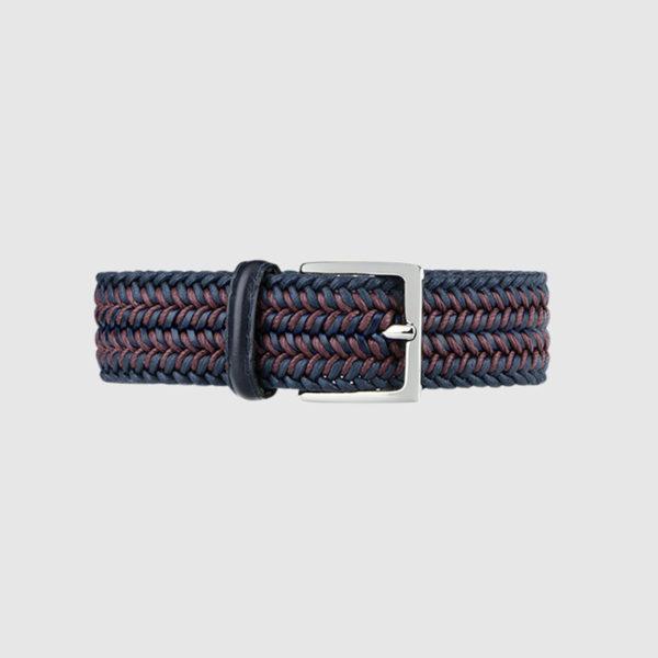 Navy/Burgundy Topwater Woven Wool Belt