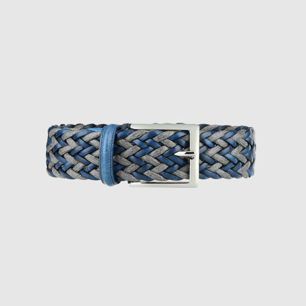 Light Blue/ Grey Fete Woven Leather Belt