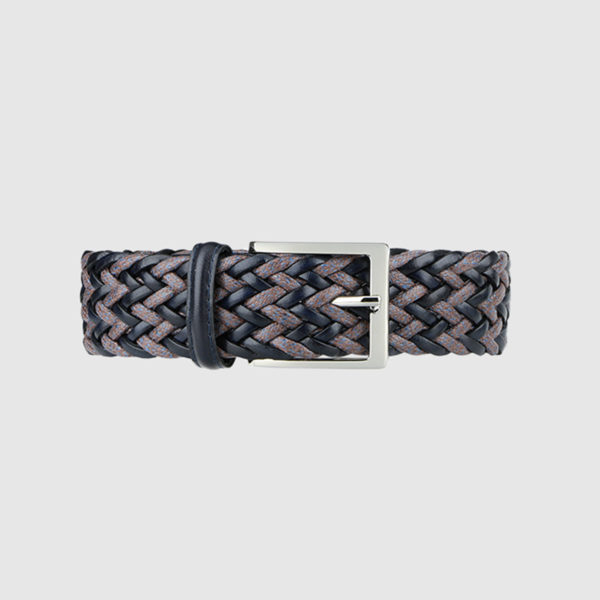 Navy/Brown Fete Woven Leather Belt