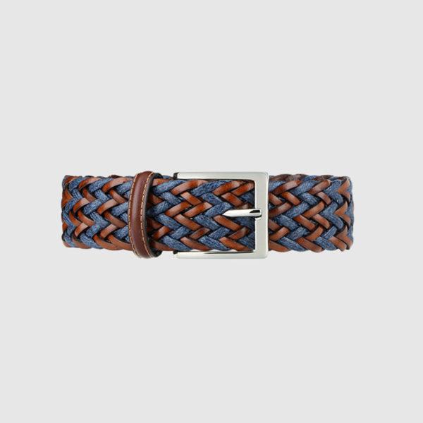 Cognac/Blue Fete Woven Leather Belt