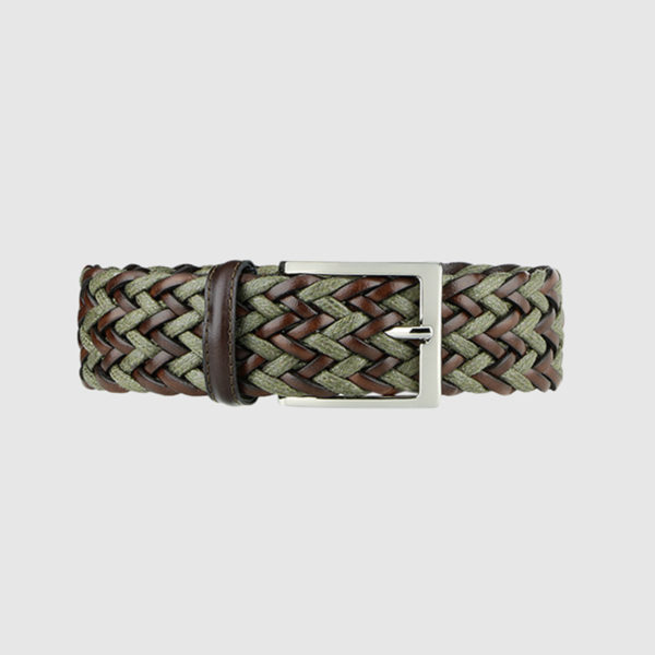 Dark brown/Olive Green Fete Woven Leather Belt