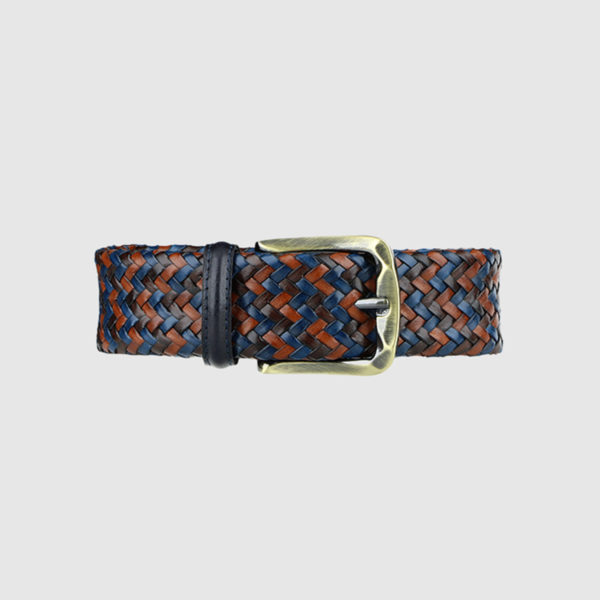 Blue/Cognac/Dark Brown Armament Woven Leather Belt