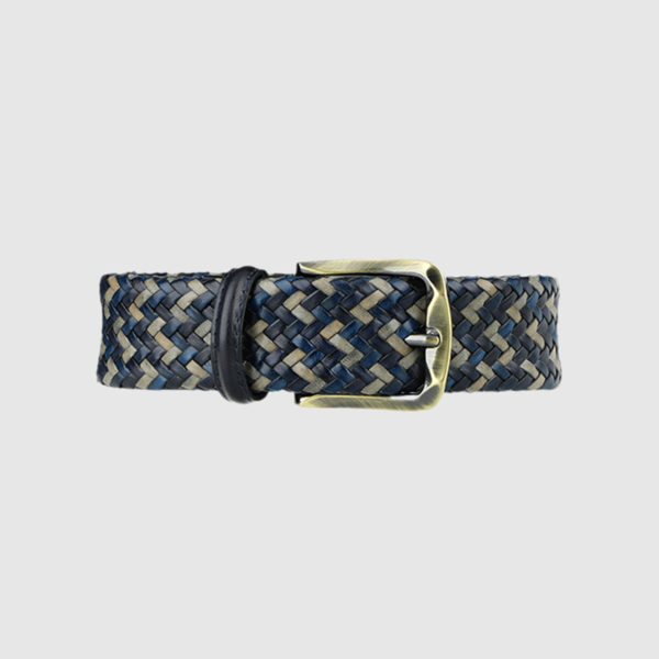 Burgundy/Grey/Black Armament Woven Leather Belt