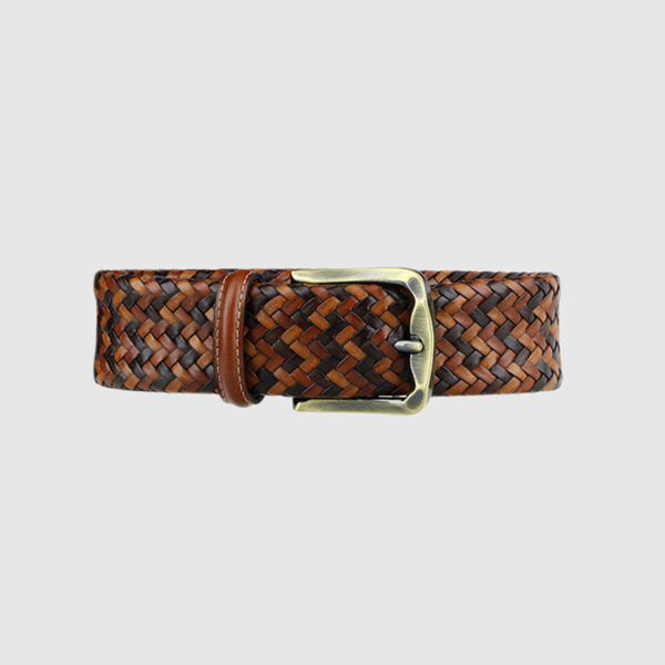 Brown Armament Woven Leather Belt