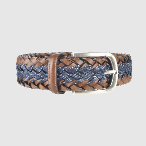 Cognac/Light Blue Mélange Woven Leather Belt