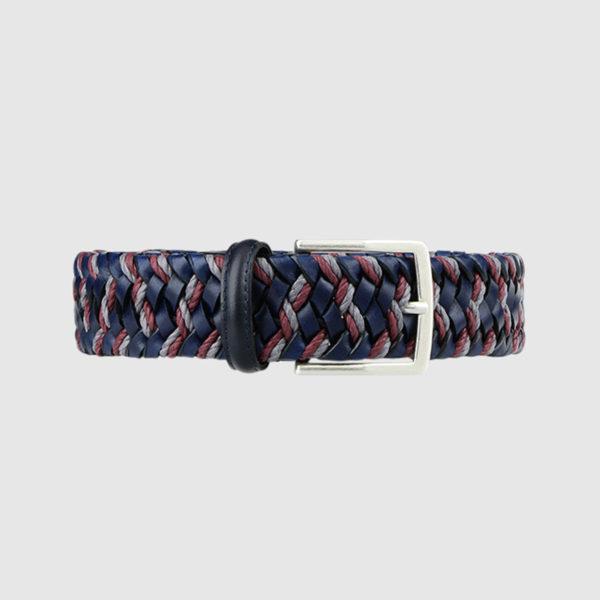 Blue/grey/Burgundy Enterprise Woven Leather Belt