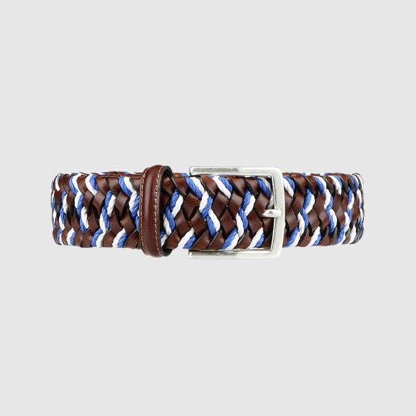 Cognac/Blue Enterprise Woven Leather Belt