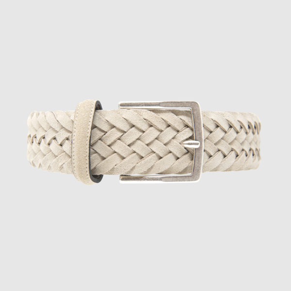 White Creel Woven Suede Belt