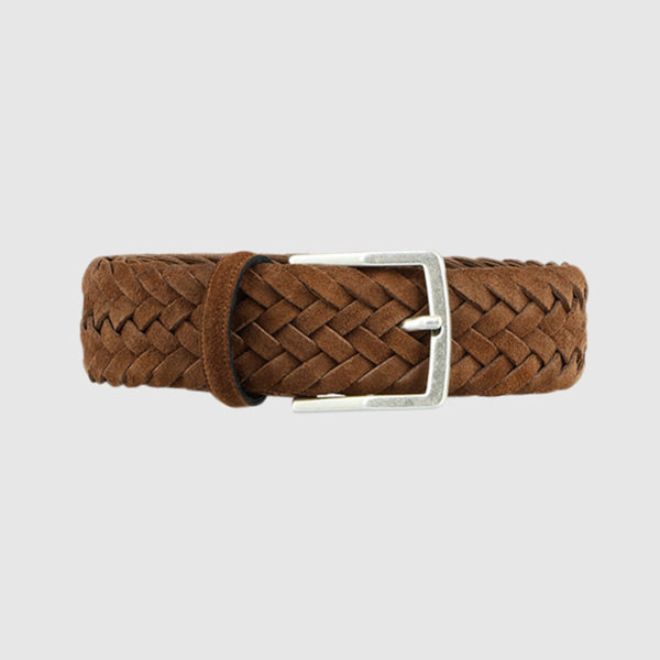 Brown Creel Woven Suede Belt