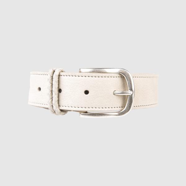 White Nabuk Leather Belt