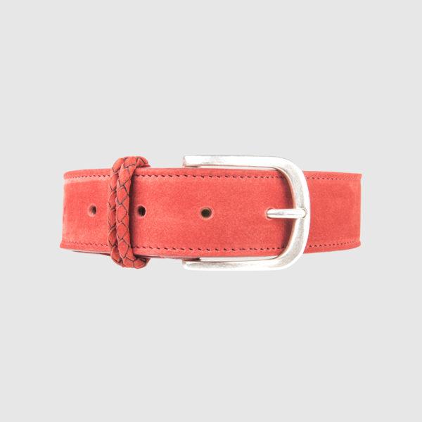 Red Nabuk Leather Belt