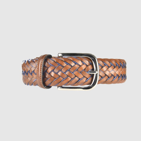 Light Brown/Avio Blue Special Edition Braided Leather Belt