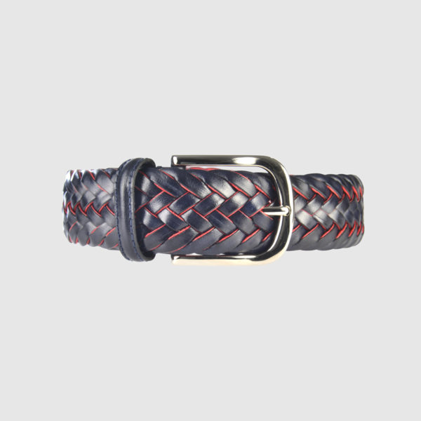 Black/Avio Blue Special Edition Braided Leather Belt