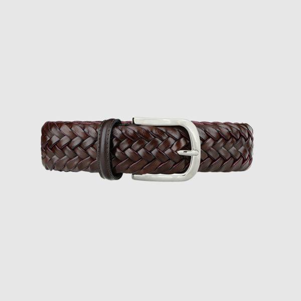 Dark Brown/Burgundy Special Edition Braided Leather Belt