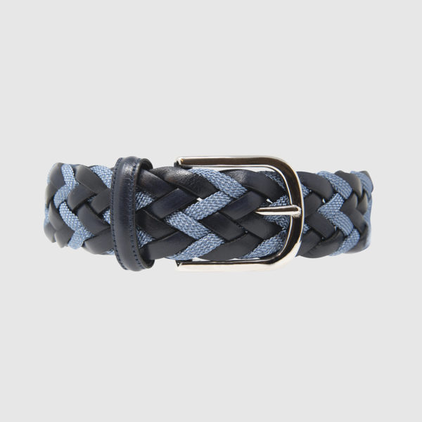 Navy/Jeans Divergence Braided Leather Belt