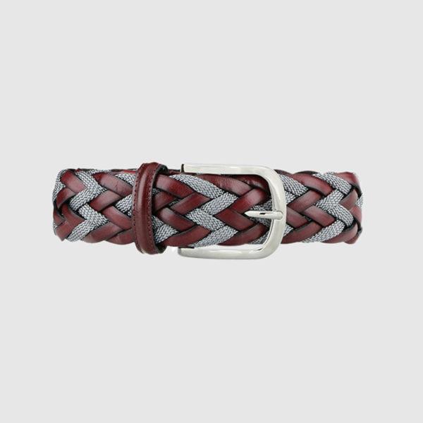 Burgundy/Grey Divergence Braided Leather Belt