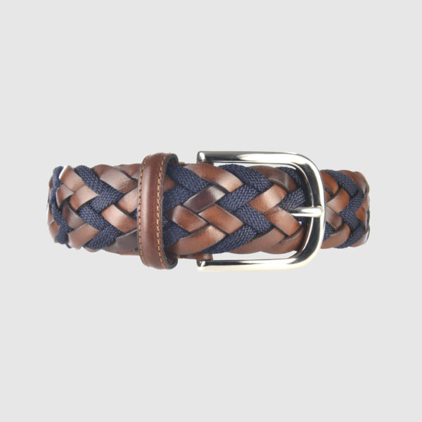 Cognac/Navy Athison Divergence Braided Leather Belt