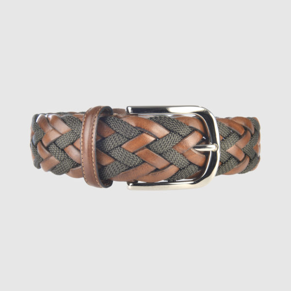 Light Brown/Olive Green Divergence Braided Leather Belt