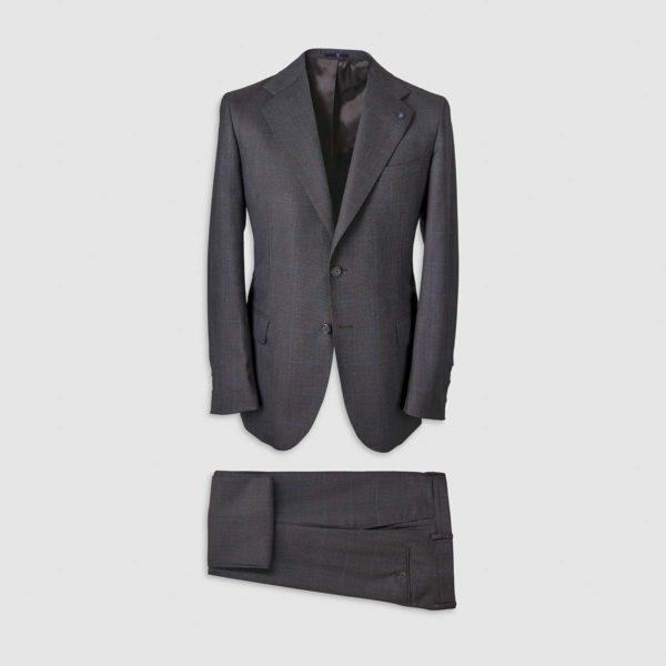 Dark Grey Windowpane Pattern Smart Suit in 130s  Four Seasons Wool