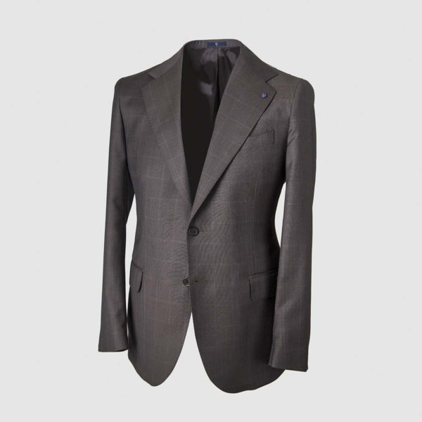Anthracite Windowpane Pattern Smart Suit in 130s Four Seasons Wool