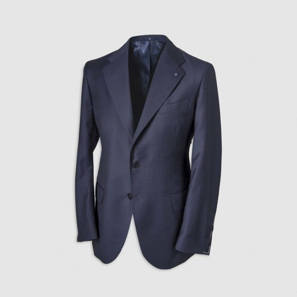 Blue Gingham Pattern Smart Suit in 130s Four Season Wool