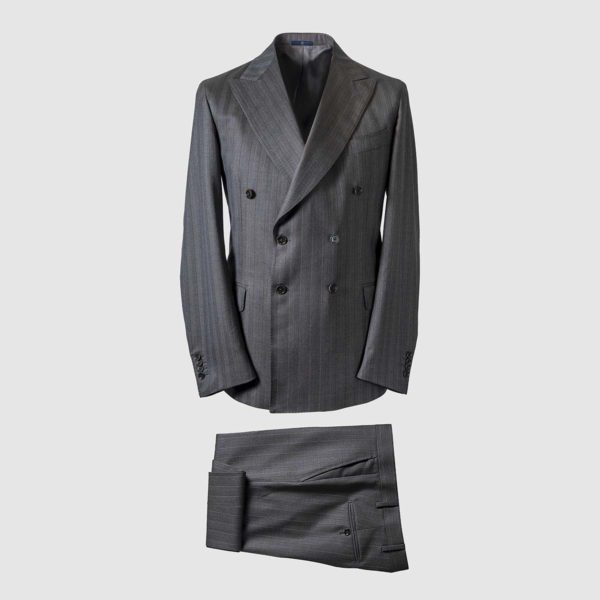 Double-Breasted Striped Suit in 130s Carnet Wool
